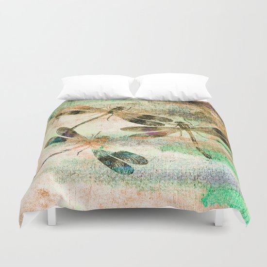 Mauritius Vintage Dragonflies QR Duvet Cover