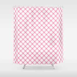 Pink and White Tartan Shower Curtain