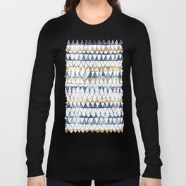 Watercolor Indigo Blue Gold Triangle Tribal Pattern Long Sleeve T-shirt
