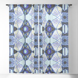 All seeing eye & mystical moons to protect you. Sheer Curtain