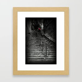 Lady Climbing Steps with Red Umbrella  Framed Art Print