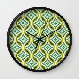 Green, Turquoise & Brown Circular Geometric Retro Pattern Wall Clock