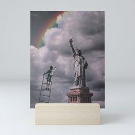 Statue of liberty rainbow Mini Art Print