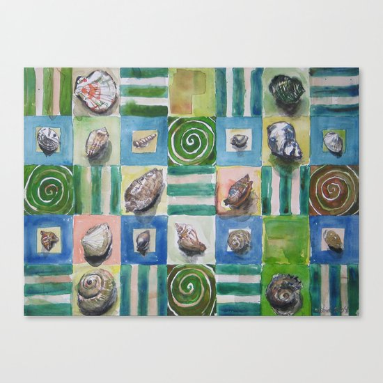 Shell and stripes Canvas Print
