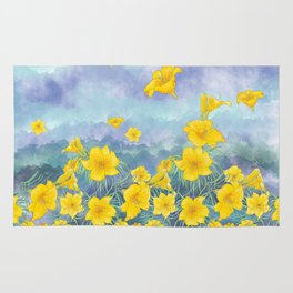 Stella D'Oro Daylily flowers over clouds Rug