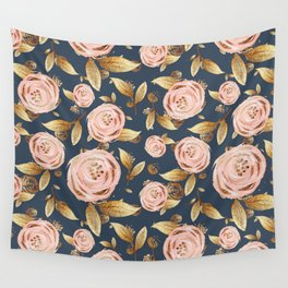 Pink and Gold Spring Floral Wall Tapestry