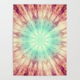 Mandala Glow Teal Aqua Peach Poster