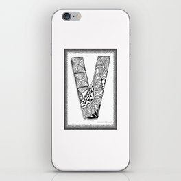 Zentangle V Monogram Alphabet Initial iPhone Skin