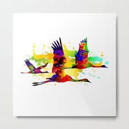 Colorful flying birds, abstract pop-art painting, cranes graphic Metal Print