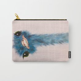 Blue Ostrich Carry-All Pouch