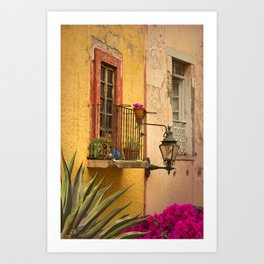 Old World Style Balcony in Mexico Art Print