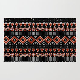 Mudcloth Style 2 in Black and Red Rug