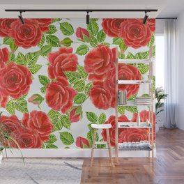 Red roses watercolor seamless pattern Wall Mural