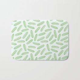 Cool as a cucumber! Seamless pattern design with green cucumbers Bath Mat
