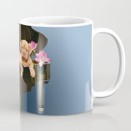 Bordeaux Bulldog in Piano with Lotus Flower Blossoms  Coffee Mug