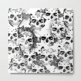 Cloudy Skulls B&W Metal Print