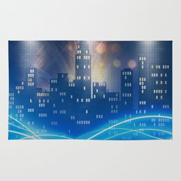 Neon city skyline by night metallic look print Rug