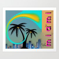 miami Art Prints featuring Miami by Dunksauce Art