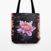 lotus flower Tote Bags featuring Lotus by KeithKarloff