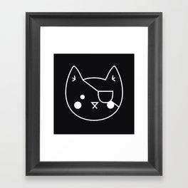 Catz // Black Cat with an Eyepatch, Black Backdrop Framed Art Print