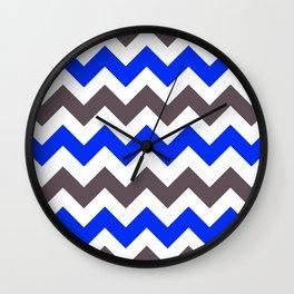Blue Nebulas and Grey ZigZag Chevron Pattern Wall Clock