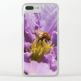 Honey Bee on a Clematis Flower Clear iPhone Case