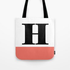 Monogram Letter H-Pantone-Peach Echo Tote Bag