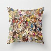 cartoon Throw Pillows featuring Cartoon Collage by Myles Hunt