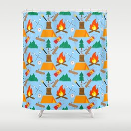 Let's Explore The Great Outdoors - Light Blue Shower Curtain