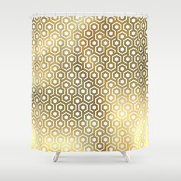Gold geometry Shower Curtain