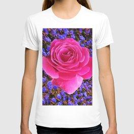 CERISE PINK GARDEN ROSE & PURPLE FLOWERS T-shirt