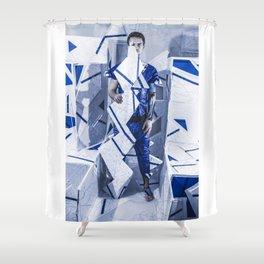 Blue/White Runway Shower Curtain