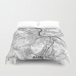 Basel Map Gray Duvet Cover