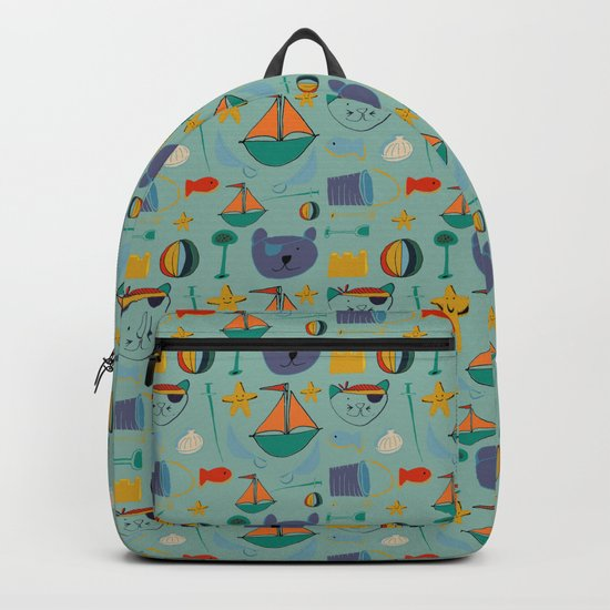 cat and bear at the beach blue green Backpack
