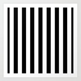 Solid Black and White Wide Vertical Cabana Tent Stripe Art Print