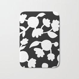 Bold floral pattern Black Bath Mat