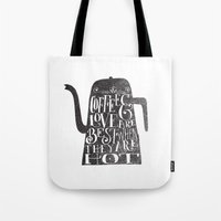 coffee Tote Bags featuring COFFEE & LOVE by Matthew Taylor Wilson