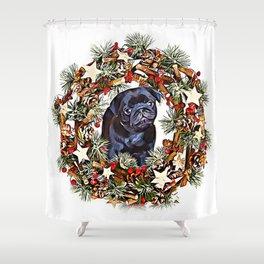 Christmas pug puppy Shower Curtain