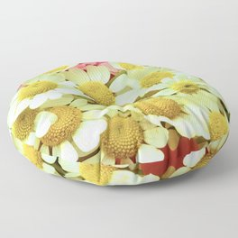Dancing White Daisies With Peek-A-Boo Pink Surprise Floor Pillow
