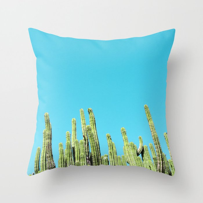 Desert Cactus Reaching for the Blue Sky Throw Pillow