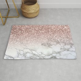 Sparkle - Glittery Rose Gold Marble Rug