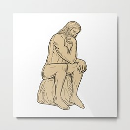 Man With Beard Sitting Thinking Drawing Metal Print
