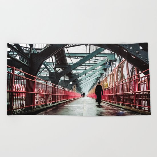 New York City Williamsburg Bridge in the Rain Beach Towel