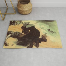 Vintage French drowned sailors charity advertising Rug