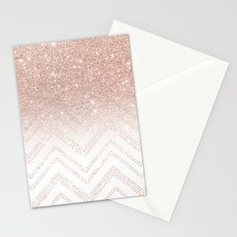 Modern faux rose gold glitter ombre modern chevron stitches pattern Stationery Cards