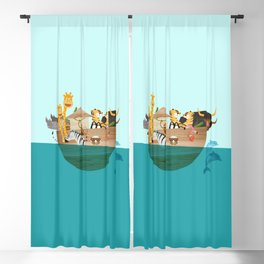 Noahs Ark with Animals– Illustration for the childrens room of girls and boys Blackout Curtain