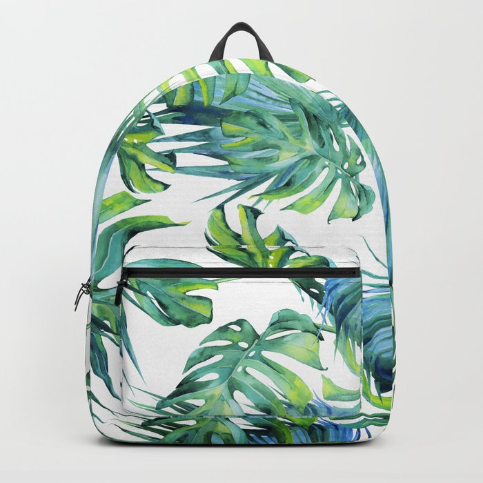 Blue Jungle Leaves, Monstera, Palm #society6 Backpack