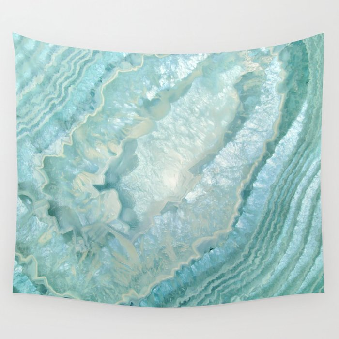 """""""Aquamarine Pastel and Teal Agate Crystal"""" Wall Tapestry"""
