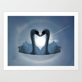 Two Blue Swans Inside Sun's Halo Art Print
