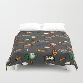 Toy Instruments on Grey Duvet Cover